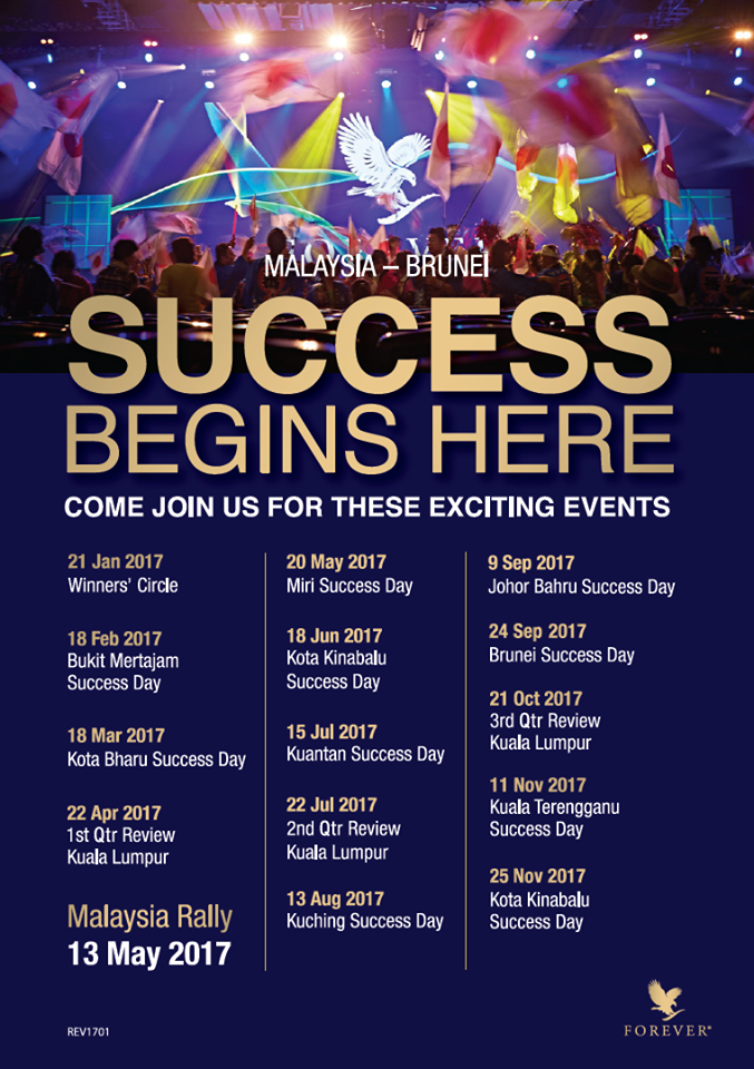 Success Day Forever | Jadual Hari Sambutan Kejayaan (Success Day) Forever Living Products Malaysia & Brunei 2017