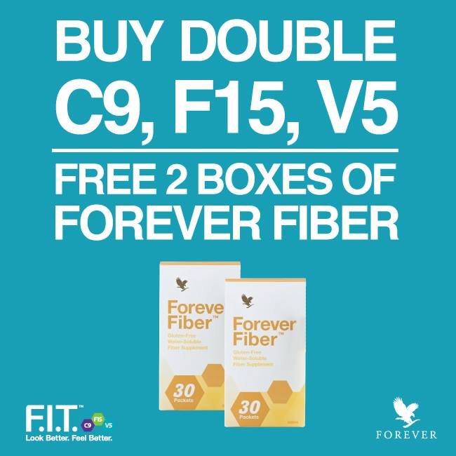 FREE 2 Kotak Fiber | Beli 2 Set Clean 9, Fit 15 atau Vital 5 & Dapat 2 Kotak Forever Fiber Percuma!