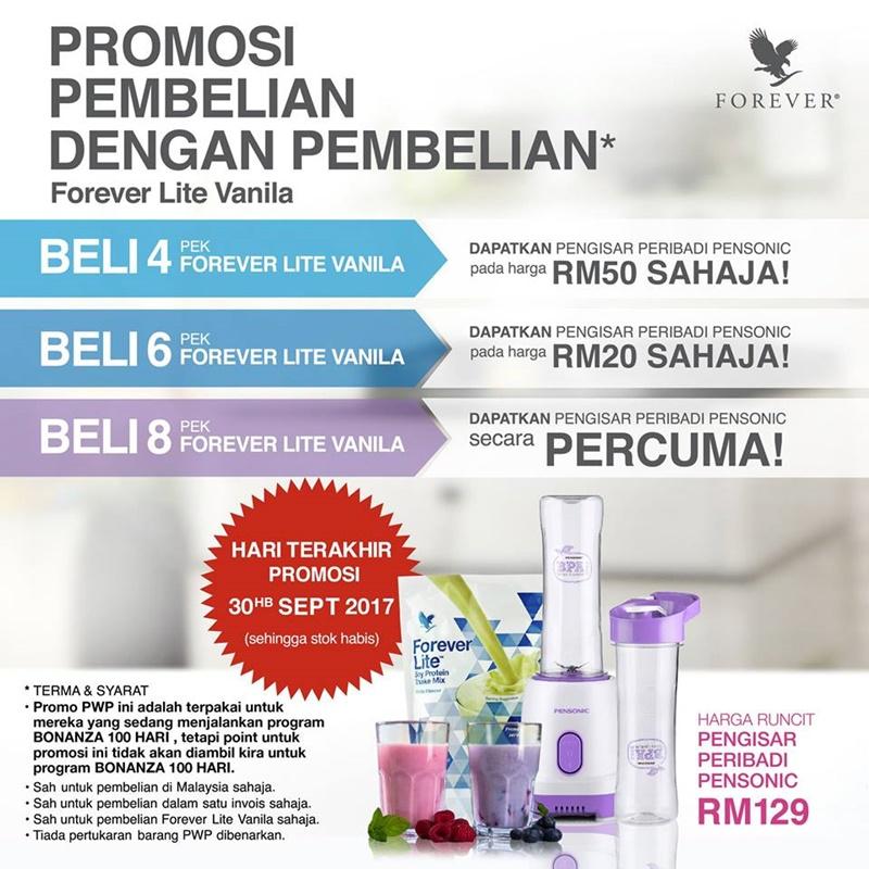 Promosi Jualan | Promosi Pembelian Dengan Pembelian Forever Lite Ultra Dengan Aminotein – Percuma Pengisar Peribadi Pensonic Bernilai RM129!